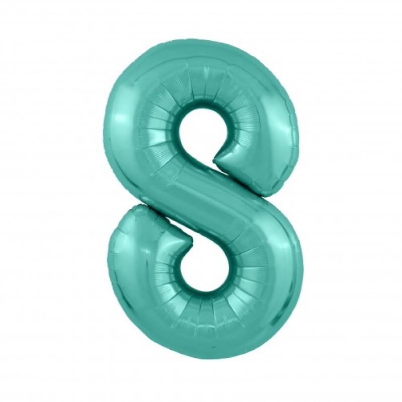 Шар «8» с гелием зеленый 100см