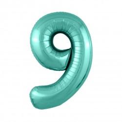 Шар «9» с гелием зеленый 100см