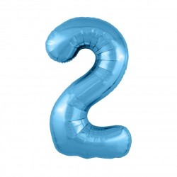 Шар «2» с гелием голубой 100см