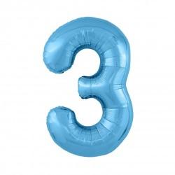 Шар «3» с гелием голубой 100см