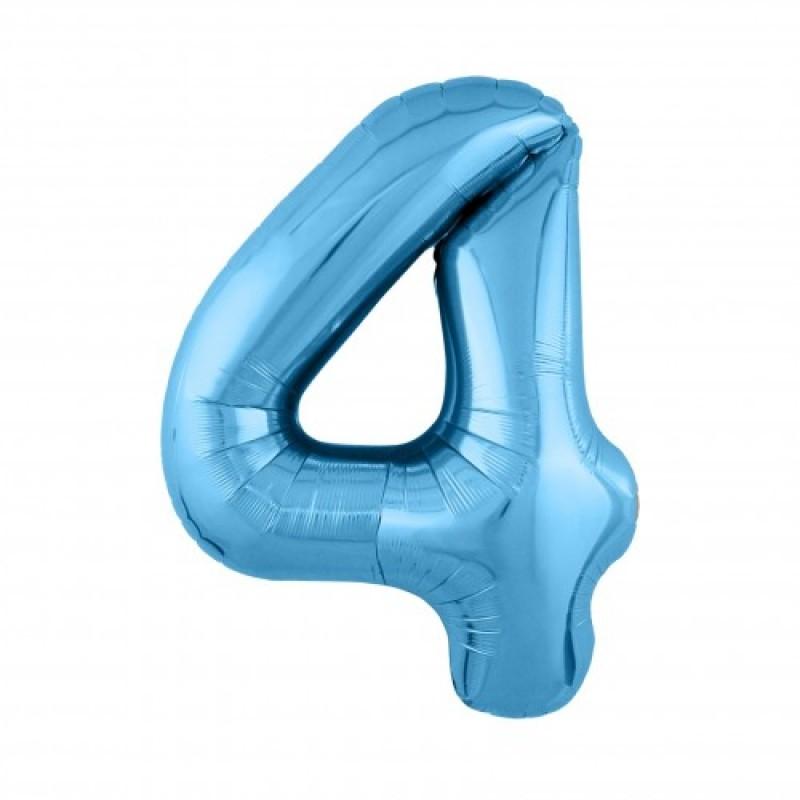 Шар «4» с гелием голубой 100см
