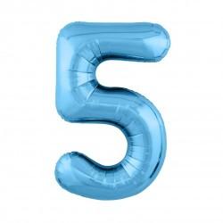Шар «5» с гелием голубой 100см
