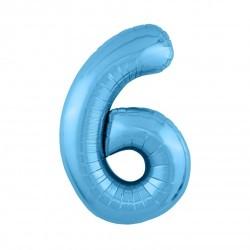 Шар «6» с гелием голубой 100см