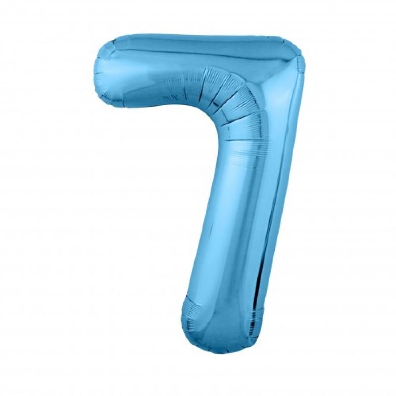 Шар «7» с гелием голубой 100см