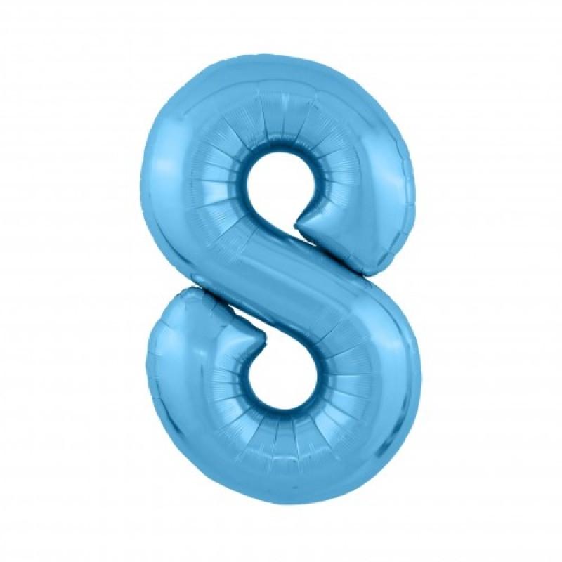 Шар «8» с гелием голубой 100см
