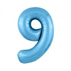 Шар «9» с гелием голубой 100см