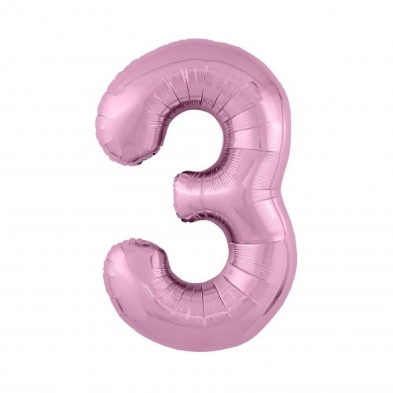 Шар «3» с гелием цвет фламинго 100см