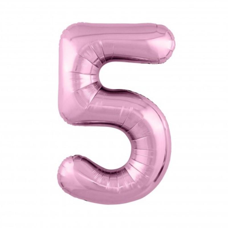 Шар «5» с гелием цвет фламинго 100см