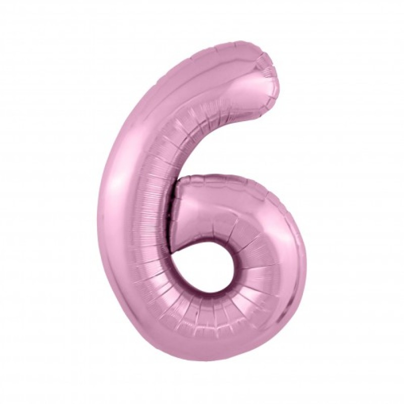 Шар «6» с гелием цвет фламинго 100см