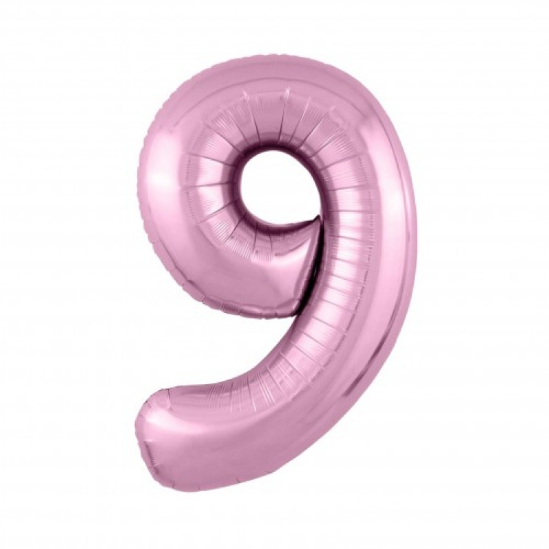 Шар «9» с гелием цвет фламинго 100см