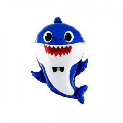 Шар с гелием Фигура Акула папа синий 49х66см baby shark