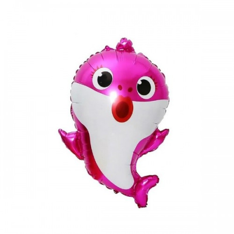 Шар с гелием Фигура Акула мама розовая 49х66см baby shark