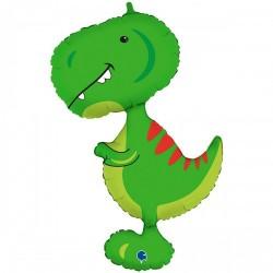 Шар с гелием  Фигура тиранозавр зеленый 97см