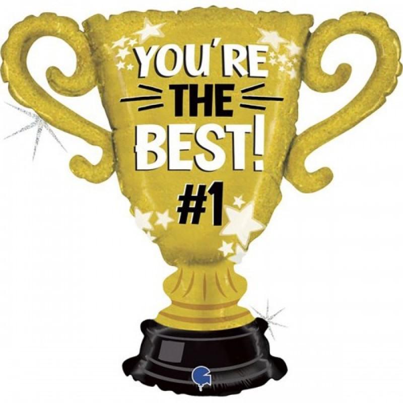 Шар с гелием Фигура Кубок золотой Ты лучший 83см