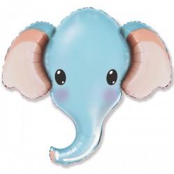 Шар с гелием Слон голубой Голова 96 см