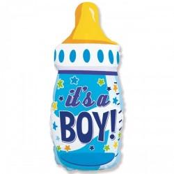 Шар с гелием  Фигура Бутылка голубая IT'S A BOY 80см