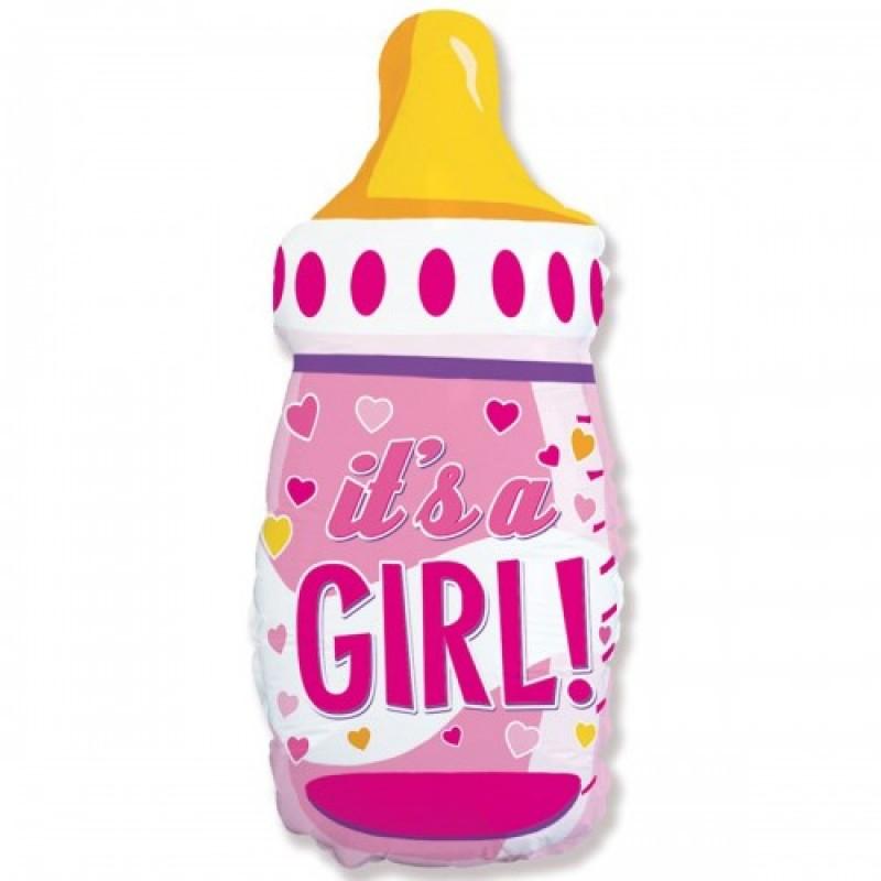Шар с гелием  Фигура Бутылка розовая IT'S S GIRL 80 см