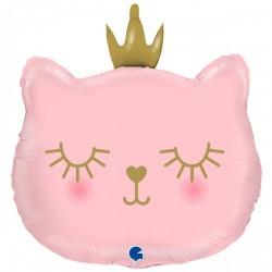 Шар с гелием Фигура кошка с короной розовая 52см