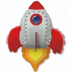 Шар с гелием Фигура ракета красная 95см