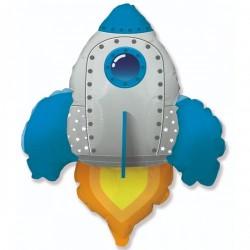 Шар с гелием Фигура ракета голубая 95см
