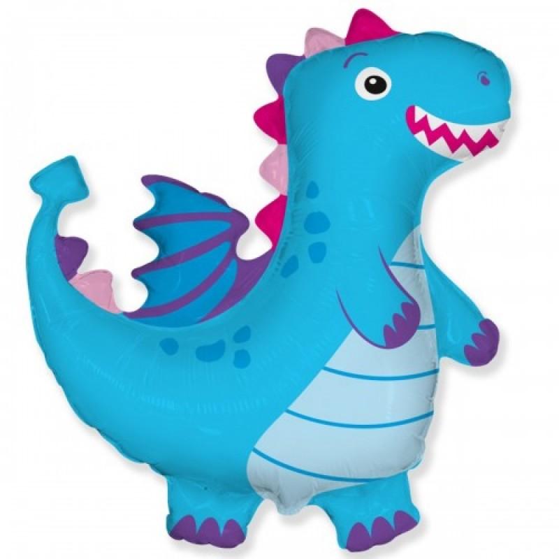 Шар с гелием Фигура дракон голубой 95см