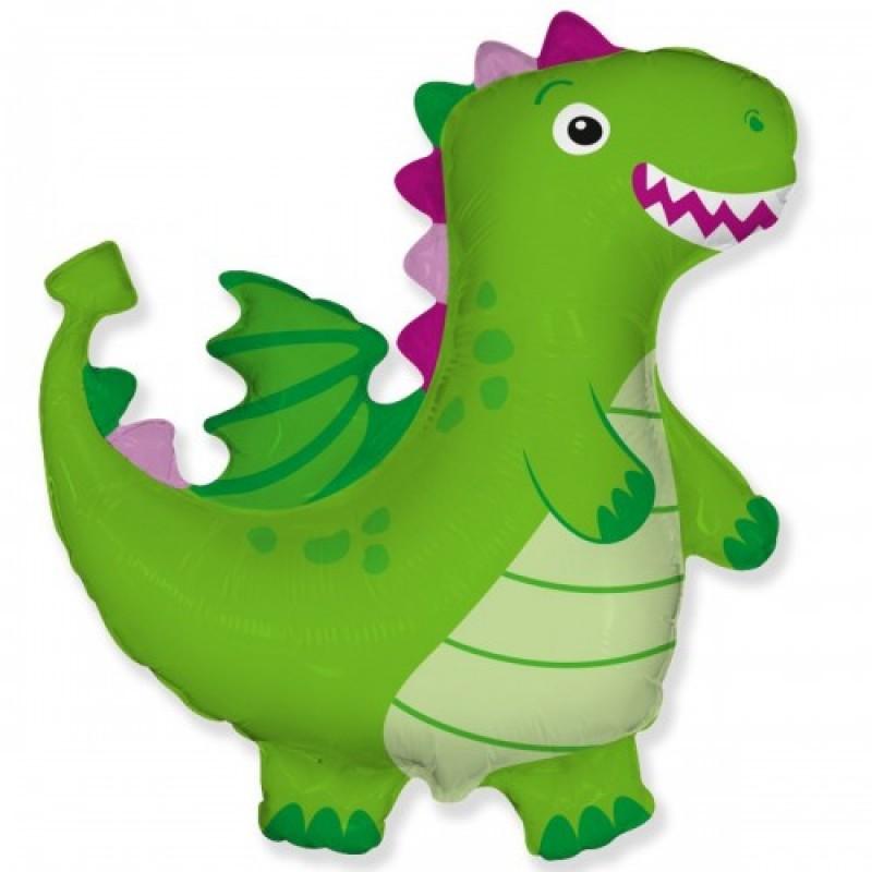 Шар с гелием Фигура дракон зеленый 95см