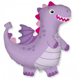 Шар с гелием Фигура дракон лиловый 95см