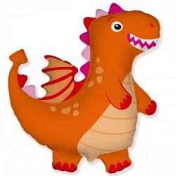 Шар с гелием Фигура дракон оранжевый 95см