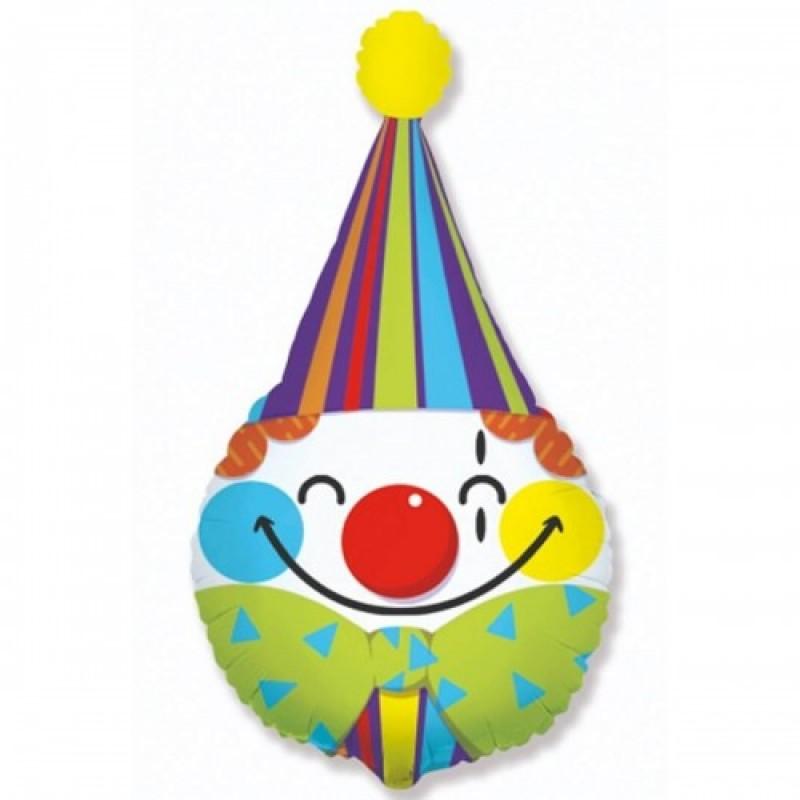 Шар с гелием  Фигура голова клоуна 70см