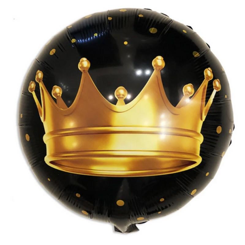 Круг с гелием Корона на черном 45см