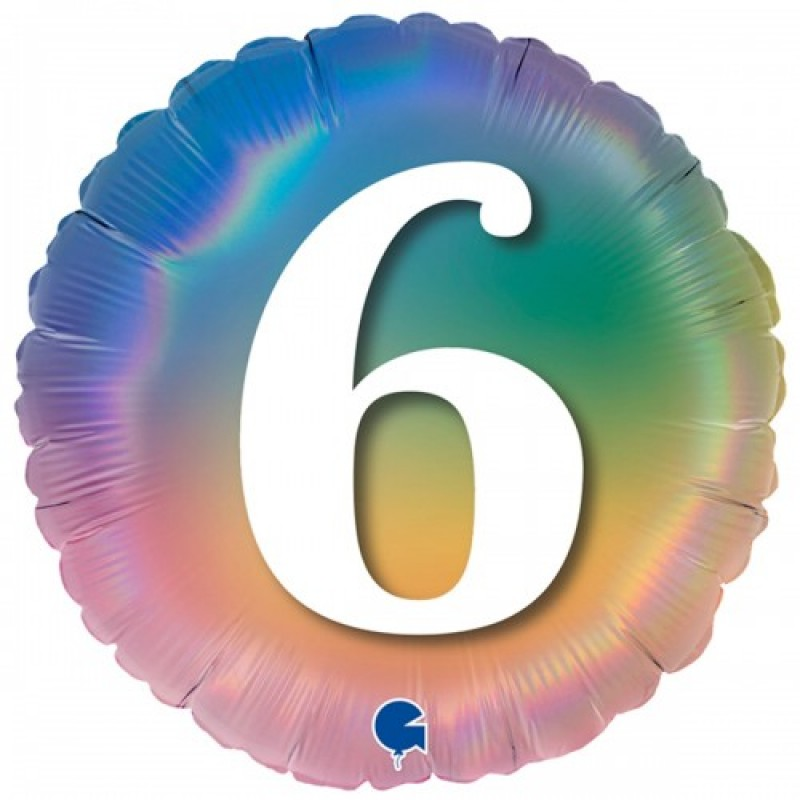 Шар с гелием Круг Цифра 6 (омбрэ радуга Италия) 45см