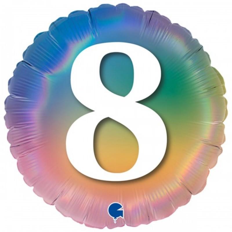 Шар с гелием Круг Цифра 8 (омбрэ радуга Италия) 45см