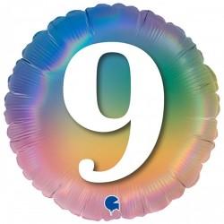 Шар с гелием Круг Цифра 9 (омбрэ радуга Италия) 45см