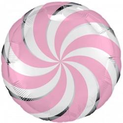 Шар с гелием Круг карамелька розовая  45см