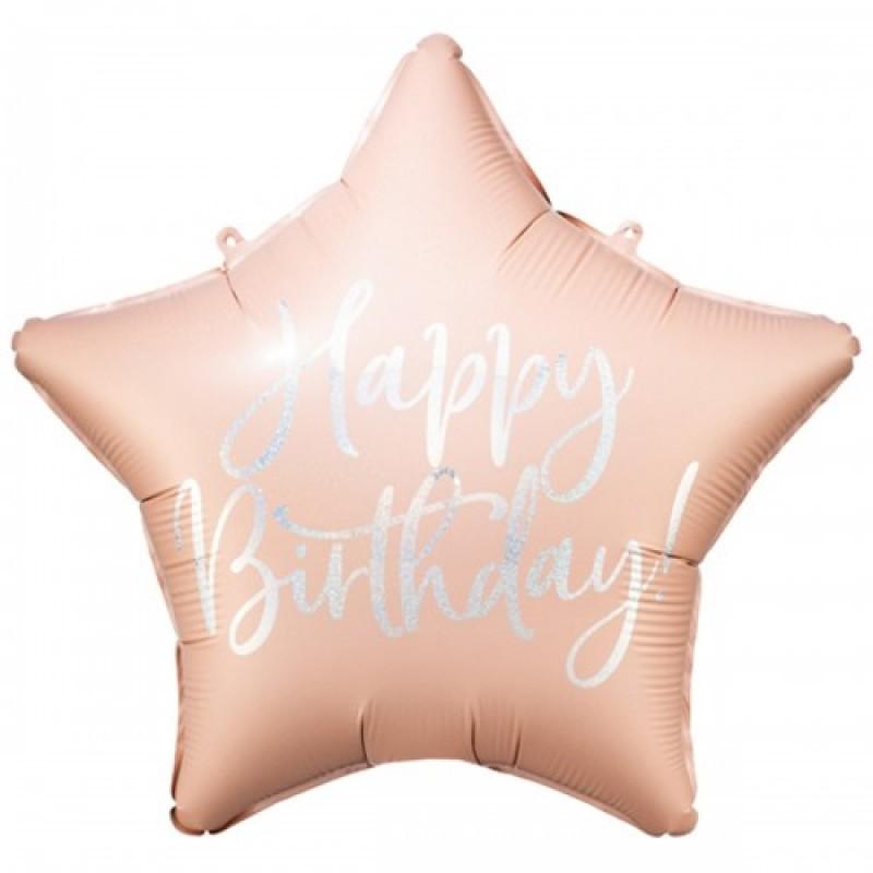 Звезда с гелием HB розовая пудра с серебристой надписью 45см