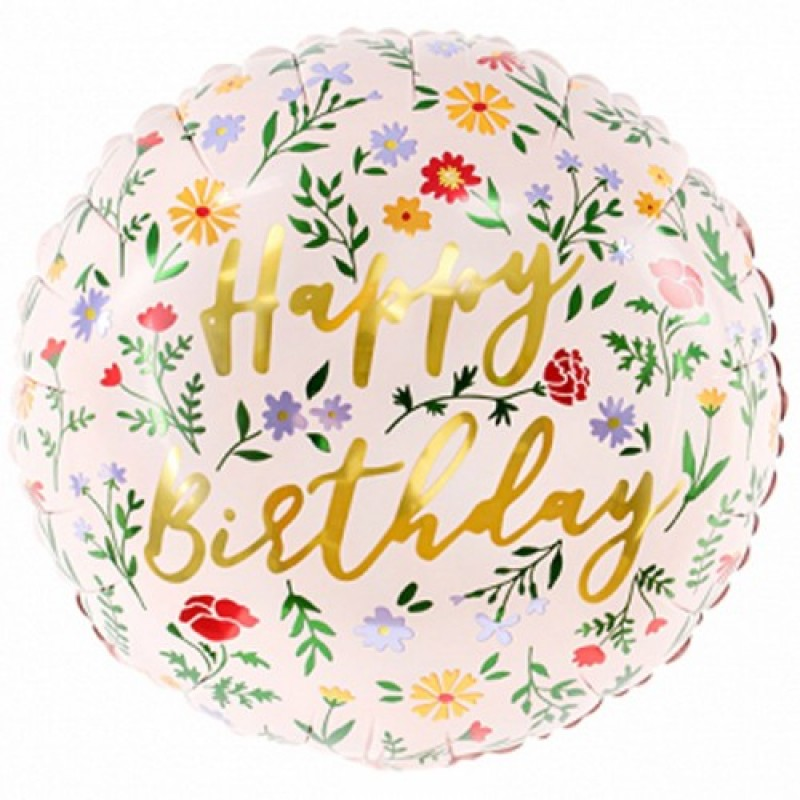 Круг с гелием Happy Birthday, светло розов 35см