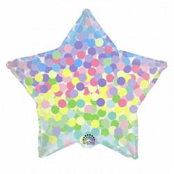 Шар с гелием Звезда цветное конфетти  45см