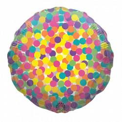 Шар с гелием Круг цветное конфетти  45см