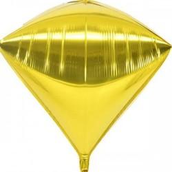 Шар с гелием 3d алмаз б/рис (40см) металлик золото