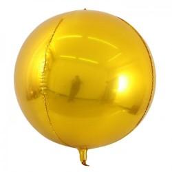 Шар с гелием 3d сфера б/рис (56см) металлик gold