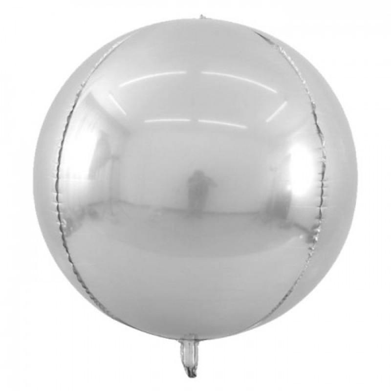 Шар с гелием 3d сфера б/рис (56см) металлик silver
