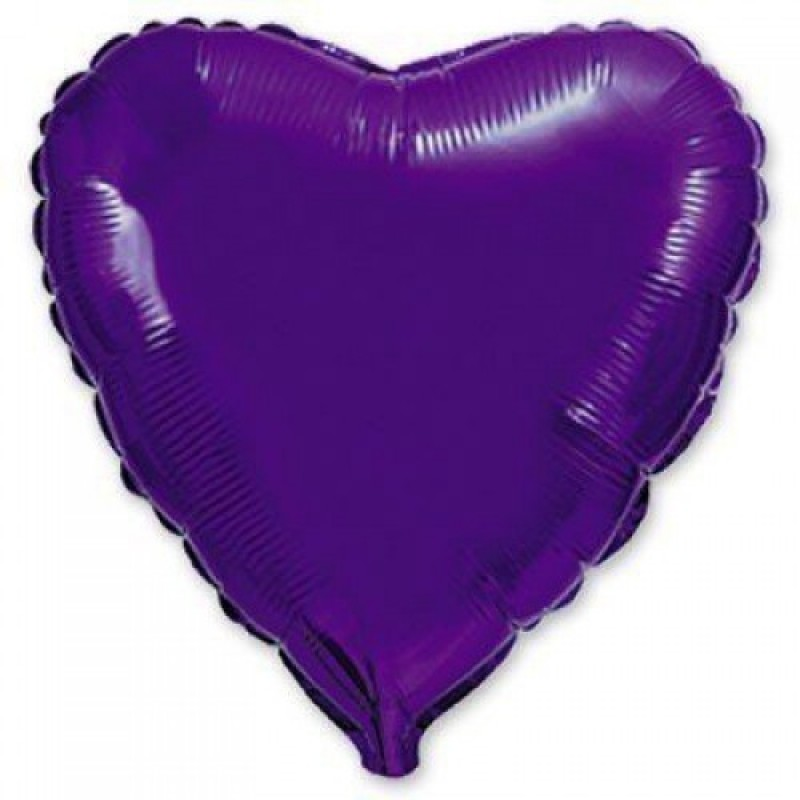 Шар с гелием СЕРДЦЕ фиолетовое 80см