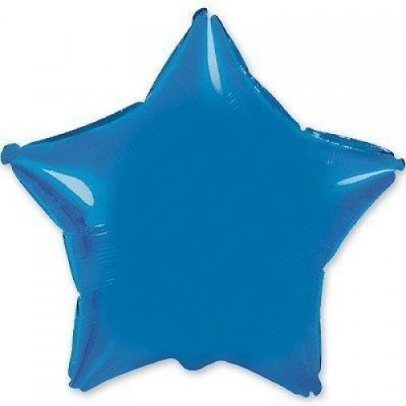 Шар с гелием ЗВЕЗДА синяя 80см