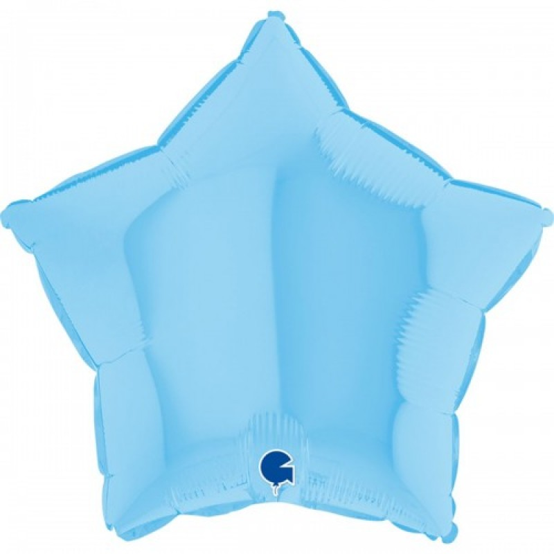 Шар с гелием звезда макарун голубой matte blue 45см