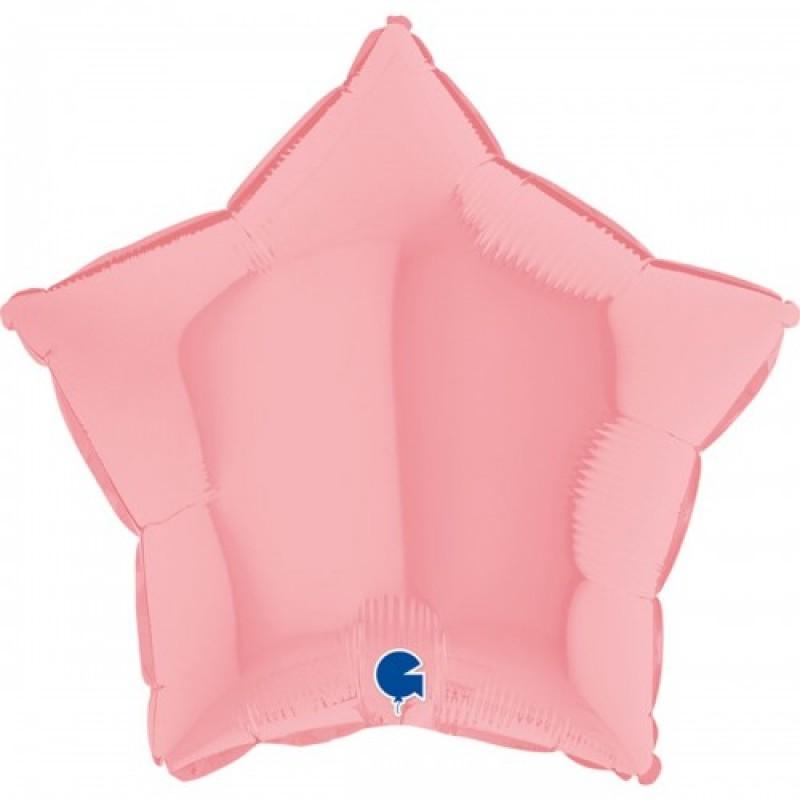 Шар с гелием звезда макарун розовый matte pink 45см