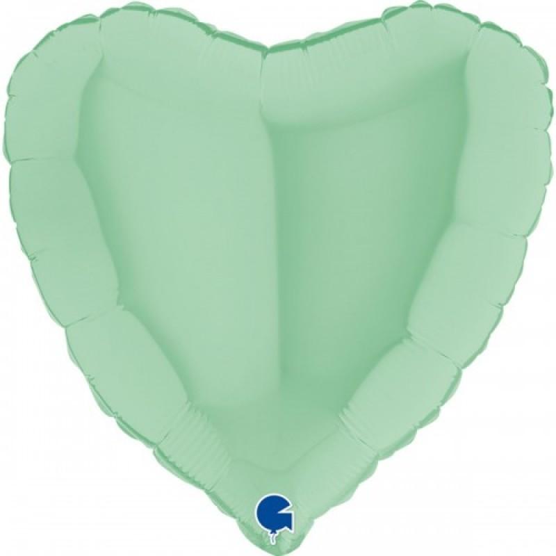 Шар с гелием сердце макарун мятный matte green 45см