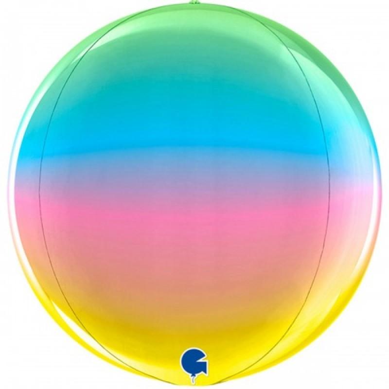 Шар с гелием 3d сфера металлик радуга 38см