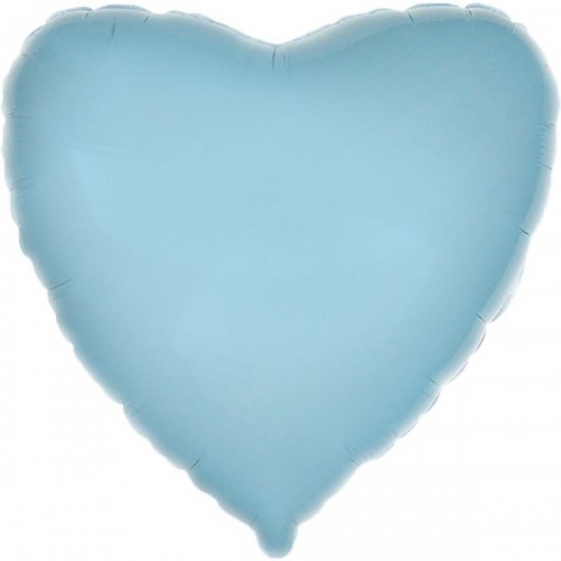 Шар с гелием сердце пастель голубое 80см