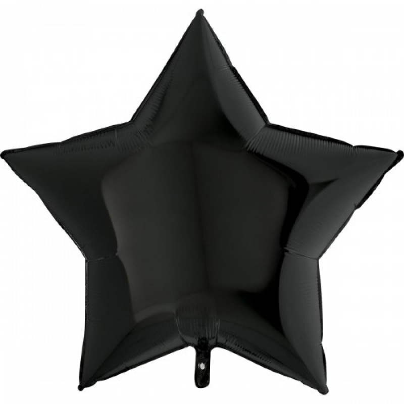 Шар с гелием ЗВЕЗДА черная 86см