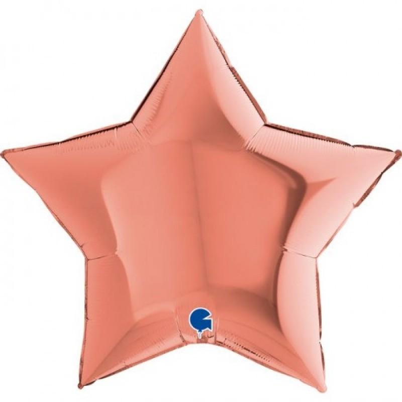Шар с гелием ЗВЕЗДА розовое золото 86см